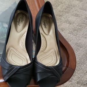 Black slip on open toe shoes